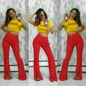 Pants - Red Snap Front Flare Bottom Pants